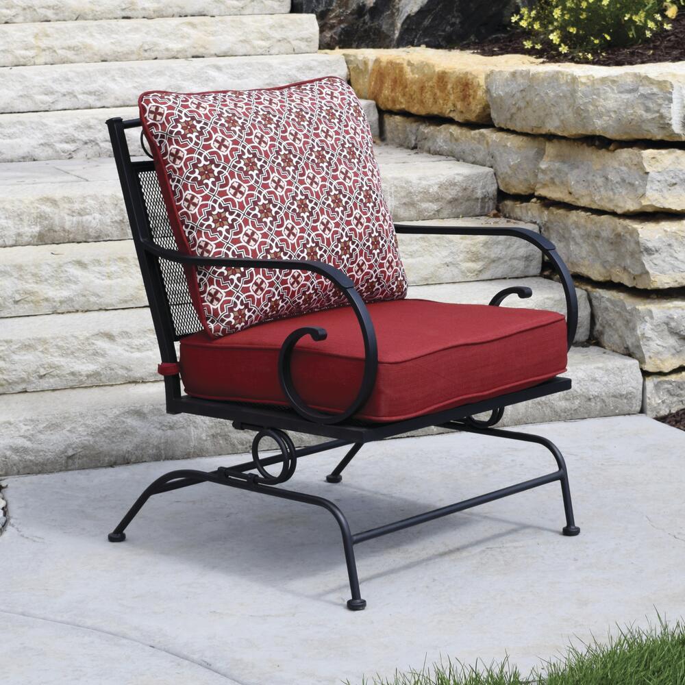 wrought iron deep seating rocking patio
