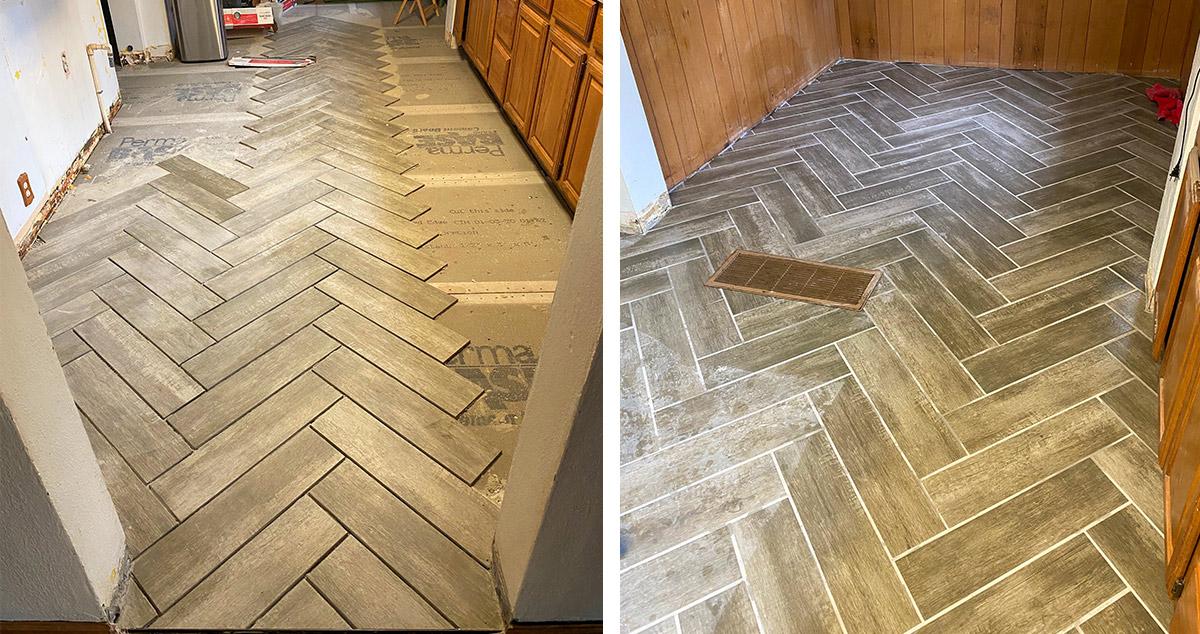 herringbone kitchen floor project by