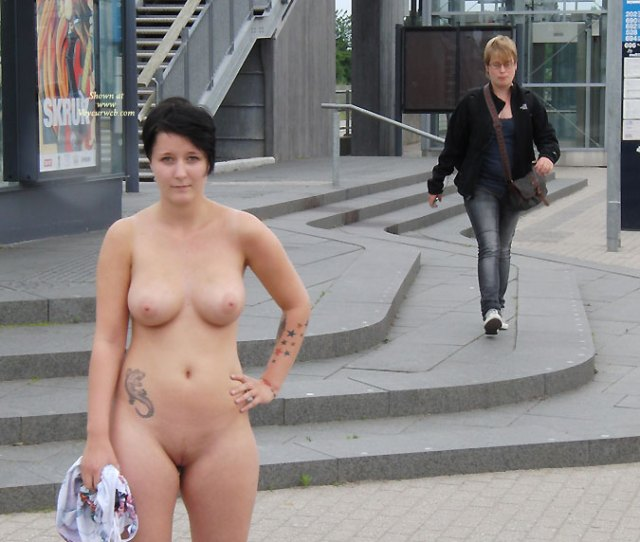 Black Haired Girl Nude In Public On Street Exhibitionist Flashing Nude In Public