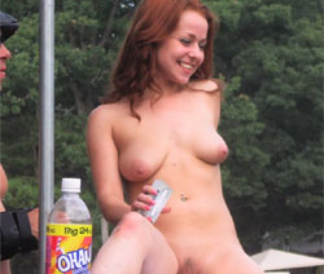 Naked Girl On A Railing