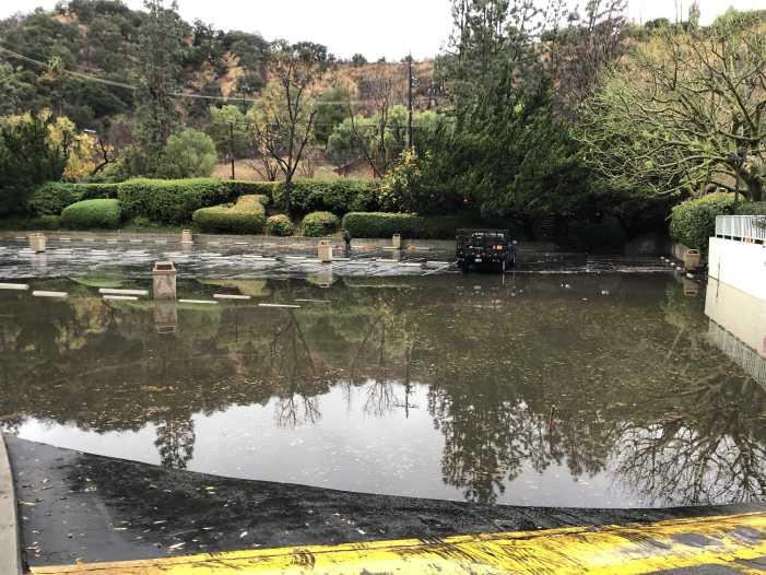 Heavy rain causes senior lot to flood