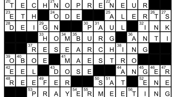 February Crossword Answers