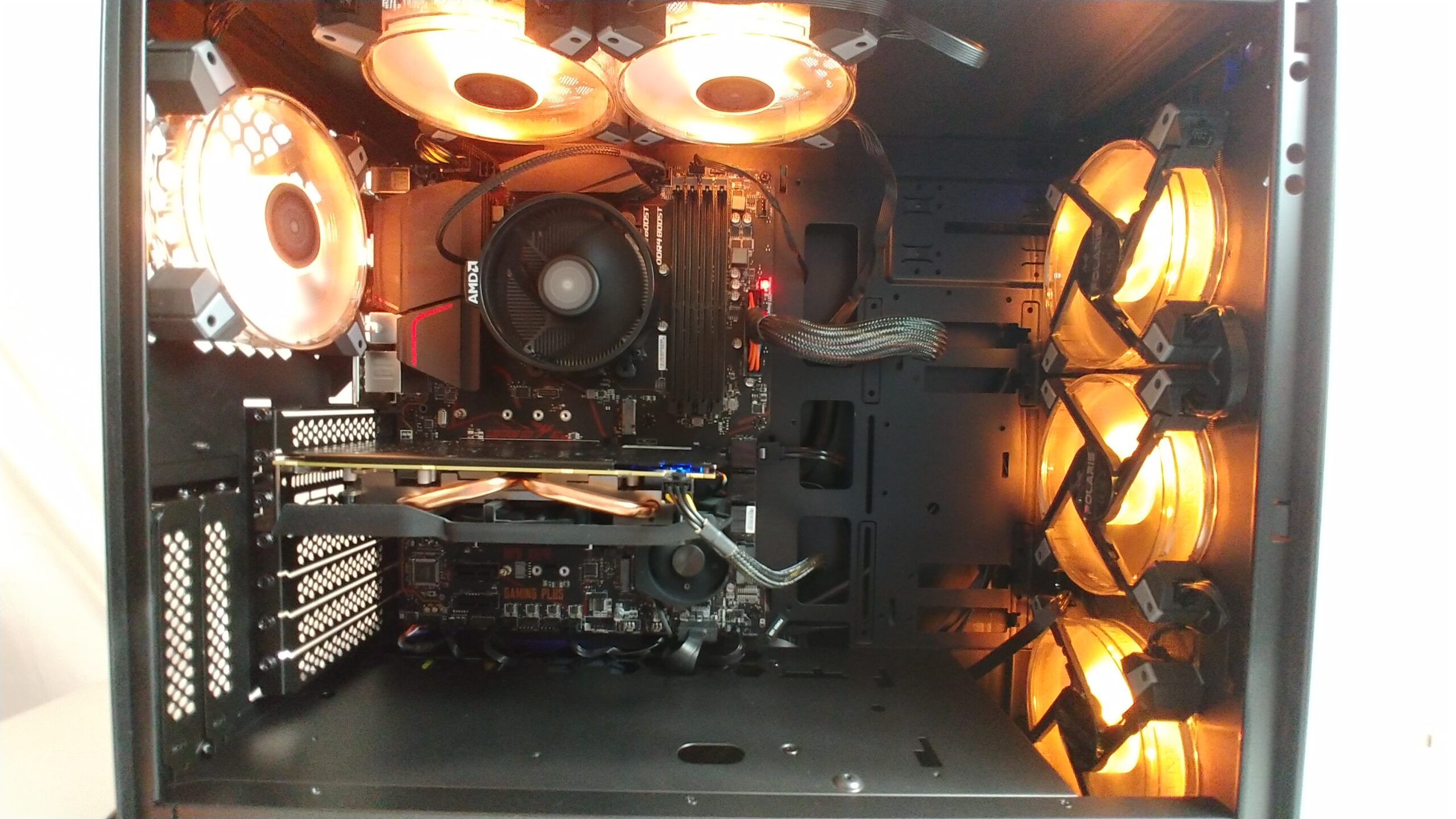 Inside the InWin 216 with RGB fans.