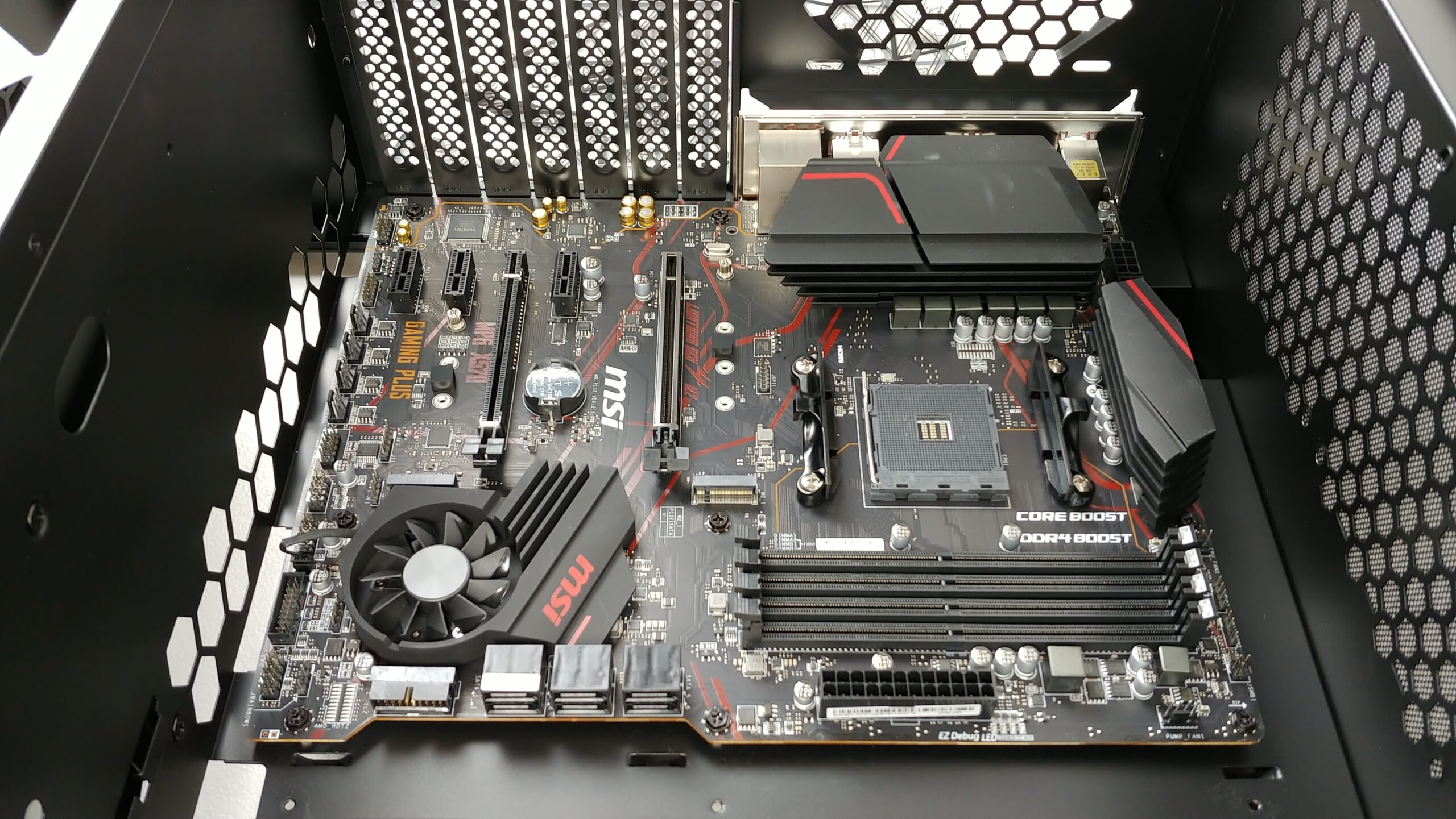 Angle view of the motherboard installed in the InWin 216.