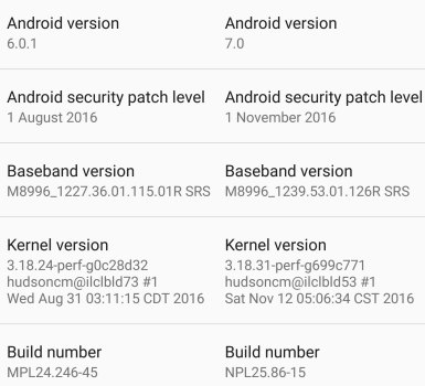 Moto Z build number update android 7.0 nougat version info