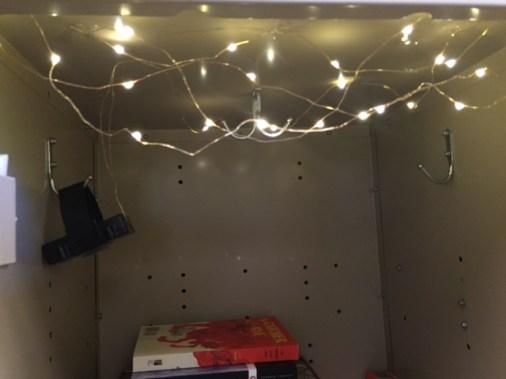 Fairy lights in locker.