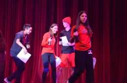 The 9th grade Senators get on the stage to start the annual Spirit Day pep rally. Credit: Casey Kim '20 / SPECTRUM