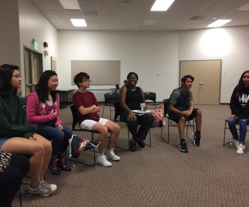 Ninth graders participate in a diversity meeting. Credit: Sarah Healy '20 / SPECTRUM