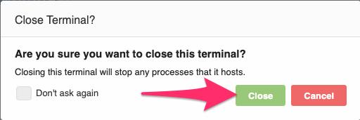 そうすると次のようなポップアップが表示されるので、「Close」をクリックします。