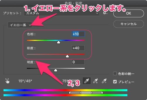 特定の色の色相・彩度を調整する。