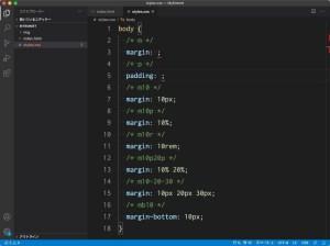 Visual Studio Code:Emmet記法でcssのmarginやpaddingに関するコードを展開する方法