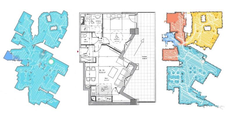 Cartographie du Dreame F9 à gauche et du Roborock S5 à droite