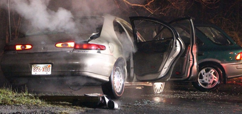 Drunk driver's car bursts into flames after ramming parked car