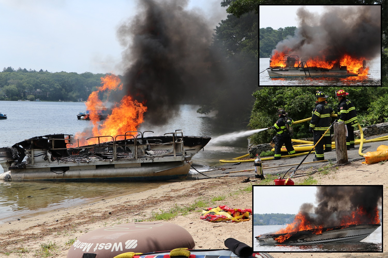 Firefighters battle two fully involved boat fires simultaneously on