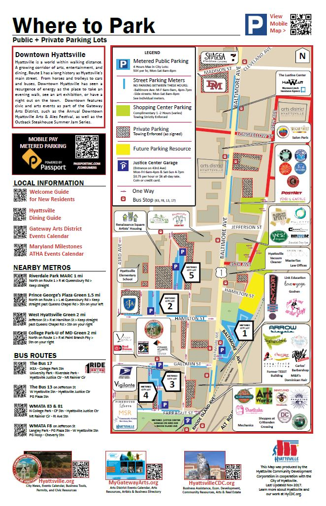 Downtown Hyattsville Parking Map, last updated Nov 2017