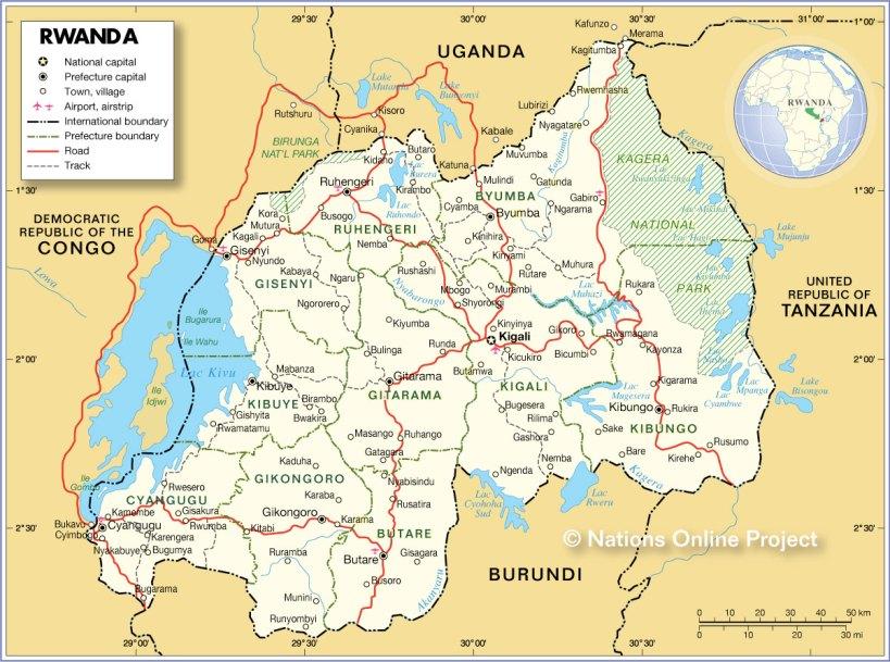 Political Map of Rwanda showing Lake Kivu Location