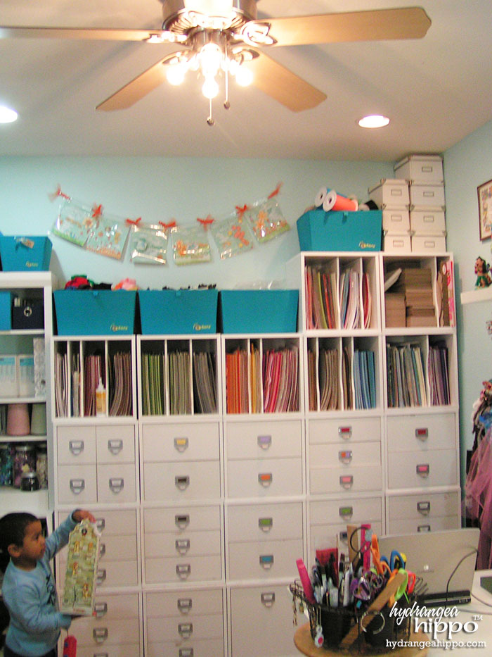 Crop In Style Store In Style Cubes Scrapbook Storage in Jennifer Priest's Scrapbook Room.