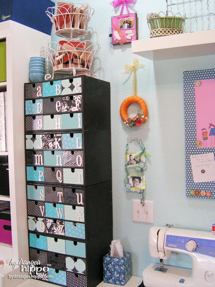 Chipboard Letter Storage in Jennifer Priest's Scrapbook Room using Ikea FIRA Boxes.
