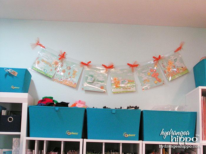 Cute banner hanging in Jennifer Priest's scrapbook room.