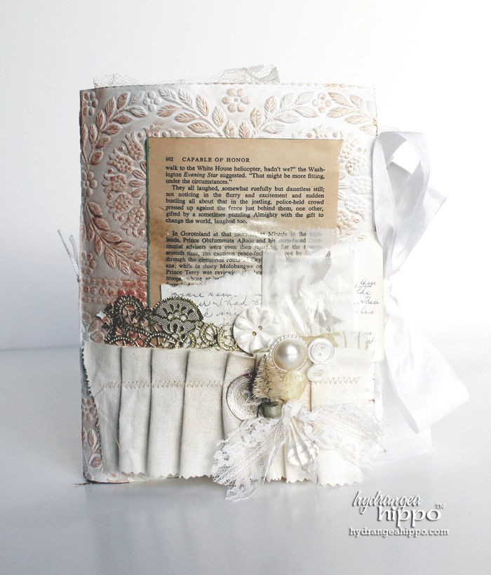 Altered Fabric and Paper Scrap WHITE Christmas Album - TOMBOW - by Jennifer Priest for hydrangeahippo 8
