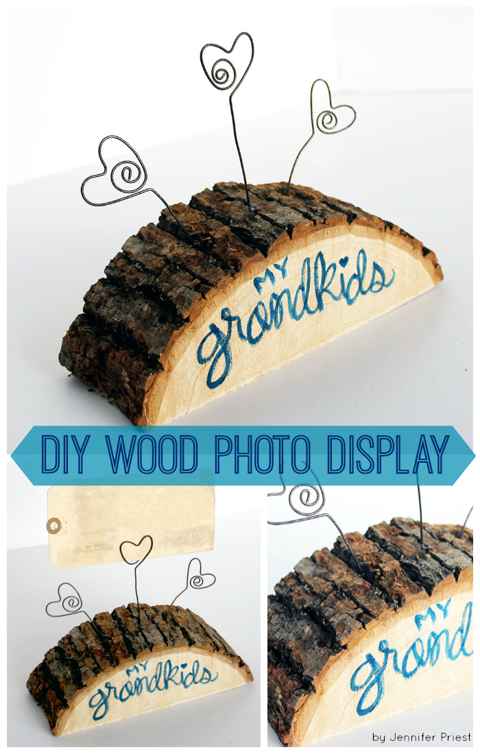 Grandkids Wood Slab Photo Display by Jennifer Priest of hydrangeahippo COLLAGE