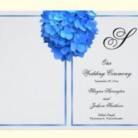 Blue Hydrangea Wedding Program Cover With Monogram Template
