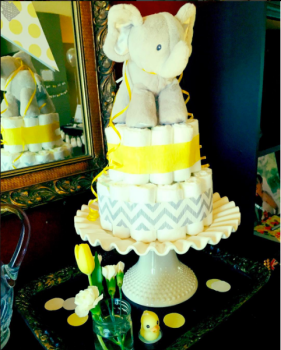 Gray and Yellow Diaper Cake with Elephant