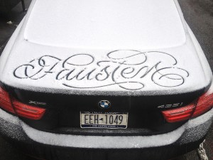 Faust calligraphic messages on snow covered cars in NYC