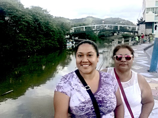 Standing with my mother at Rio de Atacames