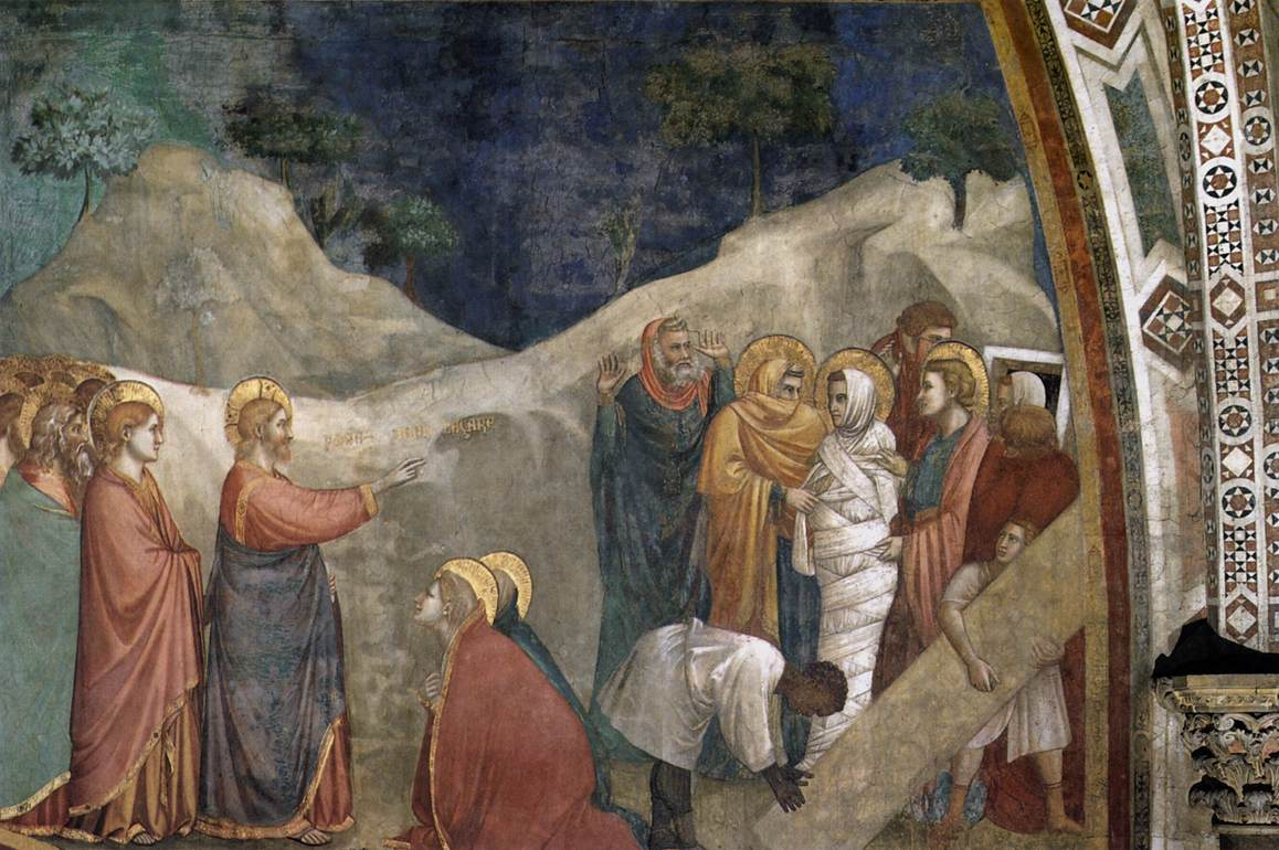 The Resurrection of Lazarus (ca. 1309) - fresco, by Giotto (Italian; 1267-1337); in the Lower Basilica, Assisi