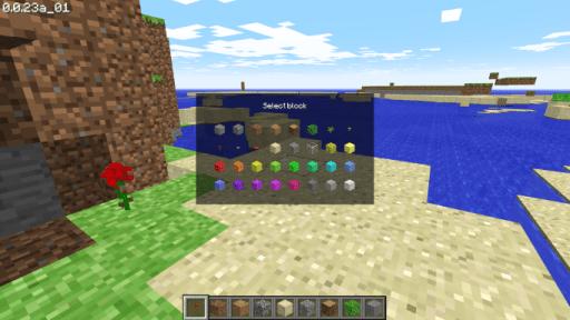 Bキーを押すとブロックの種類を選択できて画面下部のアイテムと変更できる