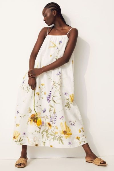 H&M Linen Summer Dress with Floral Pattern