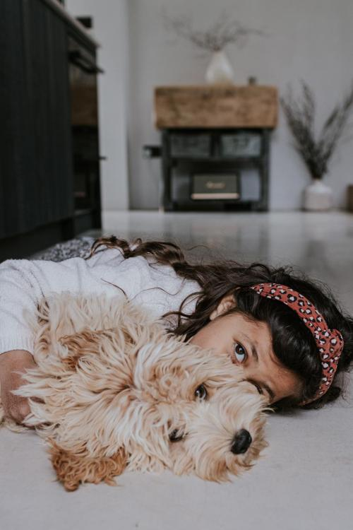 My daughter and our Cockapoo puppy Simba