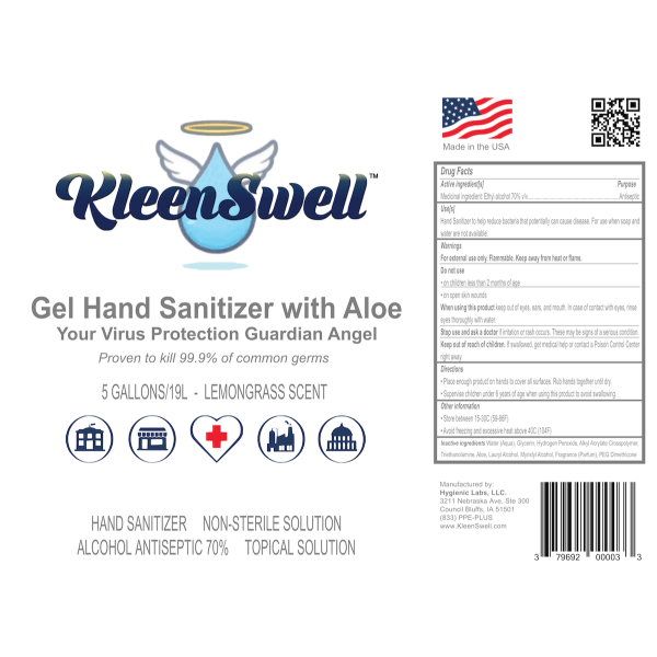 KleenSwell™ Gel Hand Sanitizer 5-Gallon Pail label