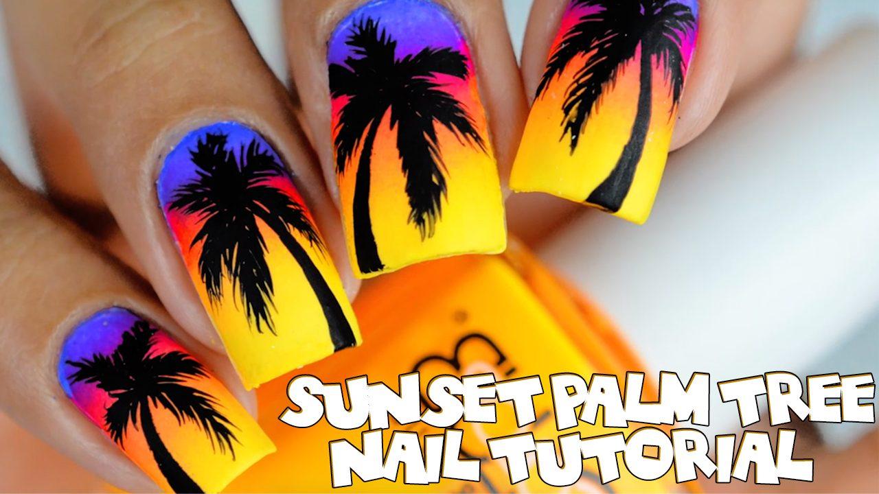 Sunset Palm Tree Nail Tutorial Pretty