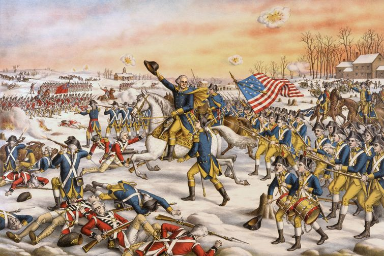 General George Washington leads the Continental Army in the Battle of Princeton during the American Revolutionary War. (Getty images)