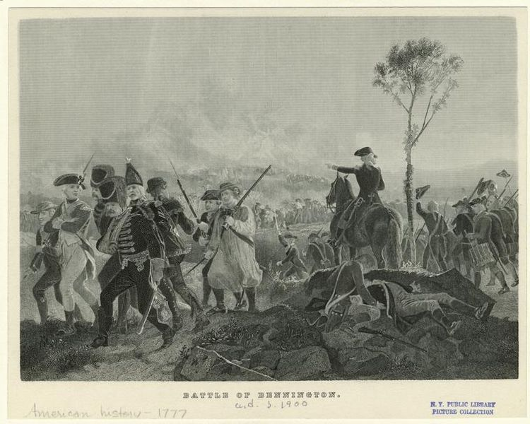 Print of the Battle of Bennington [Vermont], 1777. Courtesy of the New York Public Library Digital Collection (circa 1900)