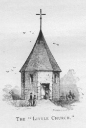 A drawing of the original Bergen church of 1680 - The octagonal, sandstone church with roof sloping to a point was constructed by William Day.