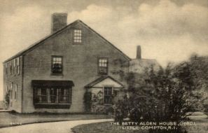 """An old postcard of the """"Betty Alden House"""" in Little Compton, Rhode island"""