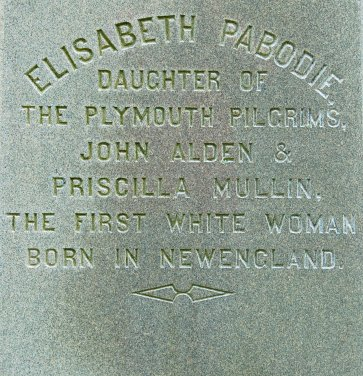 ELISABETH PABODIE, DAUGHTER OF PLYMOUTH PILGRIMS, JOHN ALDEN & PRISCILLA MULLIN, THE FIRST WHITE WOMAN BORN IN NEW ENGLAND.