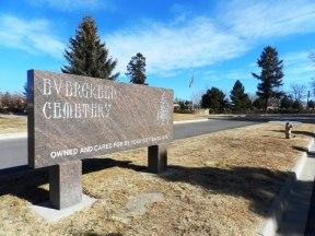 Evergreen Cemetery entrance sign