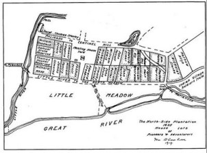 Early map of Hartford - North Side (1636)