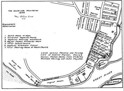 Early map of Hartford - South Side (1636)