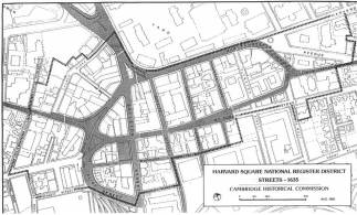 Map showing streets of 1635 surviving in the Harvard Square National Register District (Cambridge Historical Commission).