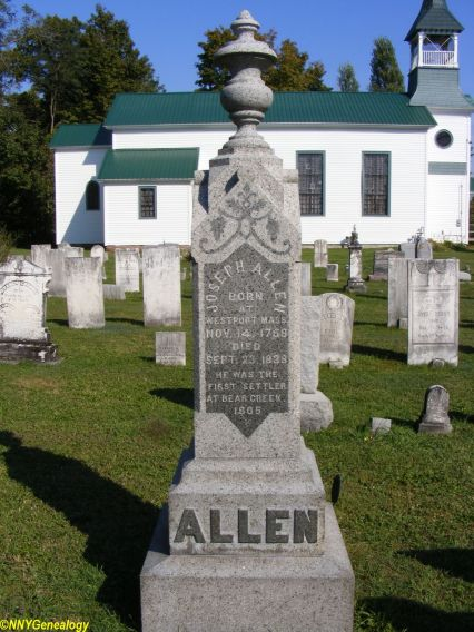 Joseph and Daniel Allen monument, Pierrepont Manor (Zion Church) Cemetery, Ellisburg, New York (photo used with permission of NNYGenealogy.com).