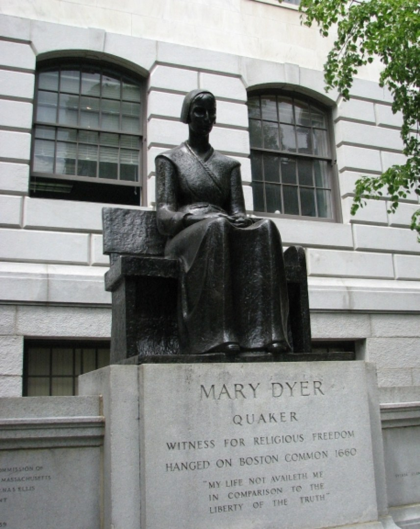 Mary Dyer was an English Puritan turned Quaker who, with four others, was hanged at Boston, Massachusetts on 1 Jun 1660 for repeatedly defying a Puritan law banning Quakers from the colony.