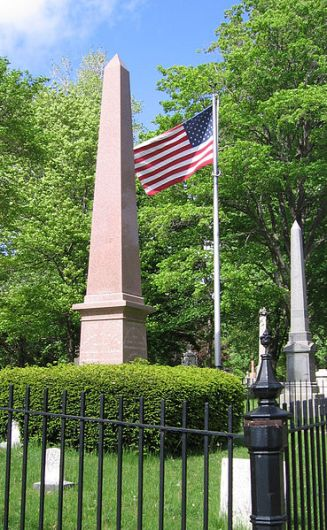 A pink obelisk marks Fillmore's grave at Forest Lawn Cemetery in Buffalo, New York