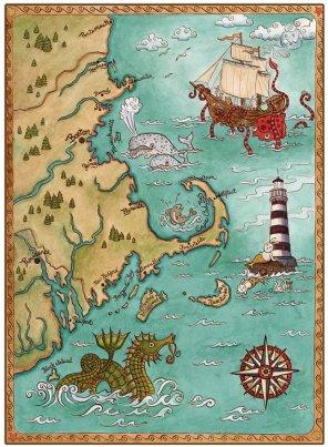 Old Map of Coastal New England