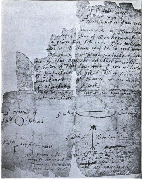 The original 1636 deed to Providence, signed by Chief Canonicus. Although wary of the European newcomers, he ultimately proved to be a firm friend of Roger Williams and other English settlers.
