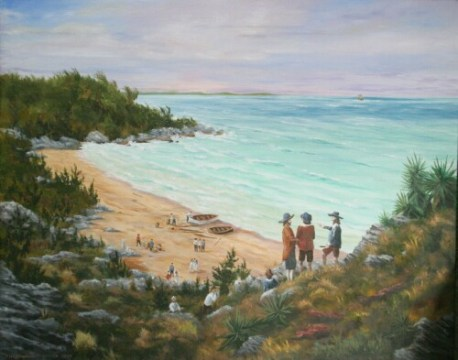 """Safely Ashore, July 28th, 1609"". All passengers and crew of the Sea Venture safely make it to shore in Bermuda. While being thankful for their safe delivery, they are unaware of the historical significance of their shipwreck for the island (painting by Christopher M. Grimes)."